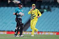 13th March 2020, Sydney Cricket Ground, Sydney, Australia;  Henry Nicholls of the Blackcaps is dismissed. International One Day Cricket. Australia versus New Zealand Blackcaps, Chappell–Hadlee Trophy, Game 1.