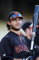 Brandon Crawford #35 of the San Francisco Giants before a game against the Los Angeles Dodgers at Dodger Stadium on May 9, 2012 in Los Angeles,California. Los Angeles defeated San Francisco 6-2. (Larry Goren/Four Seam Images)