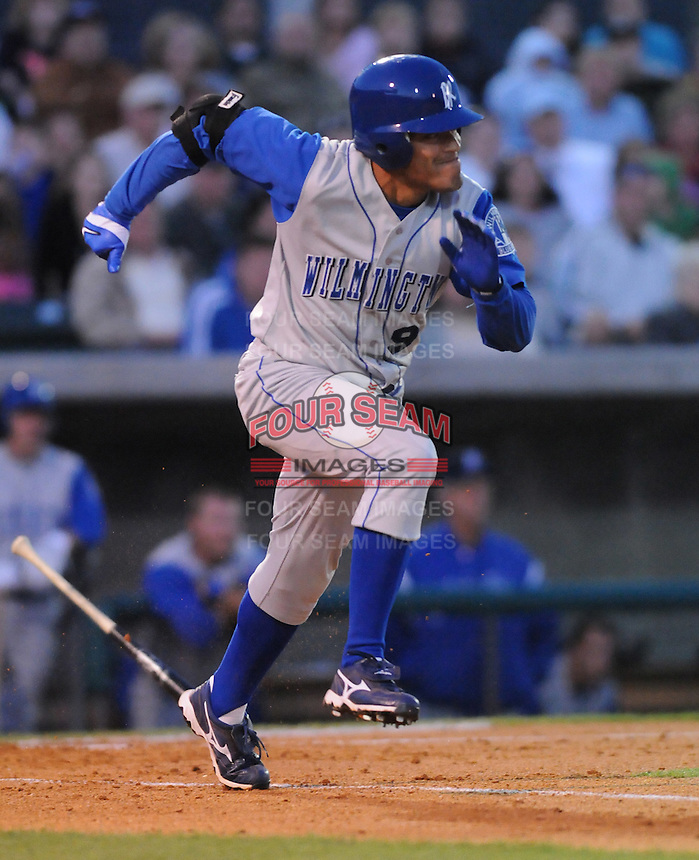 April 10, 2009: Outfielder Adrian Ortiz (9) of the Wilmington Blue Rocks, Class A affiliate of the Kansas City Royals, in a game against the Myrtle Beach Pelicans at BB&T Coastal Field in Myrtle Beach, S.C. Photo by:  Tom Priddy/Four Seam Images