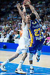 Real Madrid's Sergio Rodriguez and UCAM Murcia's Rojas and Benite during the first match of the playoff at Barclaycard Center in Madrid. May 27, 2016. (ALTERPHOTOS/BorjaB.Hojas)