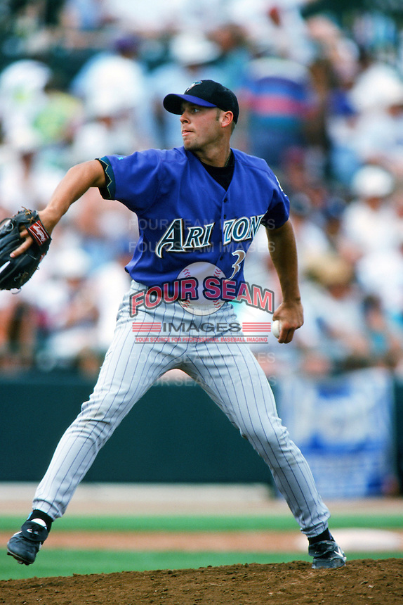 Brian Anderson of the Arizona Diamondbacks pitches during a 1999 Major League Baseball Spring Training game in Phoenix, Arizona. (Larry Goren/Four Seam Images)