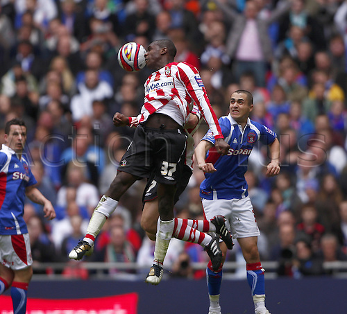 28/03/2010. Saints' Michail Antonio (37) wins a first half header. Southampton v Carlisle United. Johnstone's Paint Trophy Final at Wembley Stadium, London, England, UK