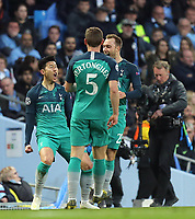 Tottenham Hotspur's Son Heung-Min celebrates with team-mates after scoring his side's equalising goal to make the score 1 - 1<br /> <br /> Photographer Rich Linley/CameraSport<br /> <br /> UEFA Champions League - Quarter-finals 2nd Leg - Manchester City v Tottenham Hotspur - Wednesday April 17th 2019 - The Etihad - Manchester<br />  <br /> World Copyright © 2018 CameraSport. All rights reserved. 43 Linden Ave. Countesthorpe. Leicester. England. LE8 5PG - Tel: +44 (0) 116 277 4147 - admin@camerasport.com - www.camerasport.com