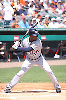 Detroit Tigers center fielder Austin Jackson (14) at bat against the Miami Marlins during a spring training game at the Roger Dean Complex in Jupiter, Florida on March 25, 2013. Detroit defeated Miami 6-3. (Stacy Jo Grant/Four Seam Images)........