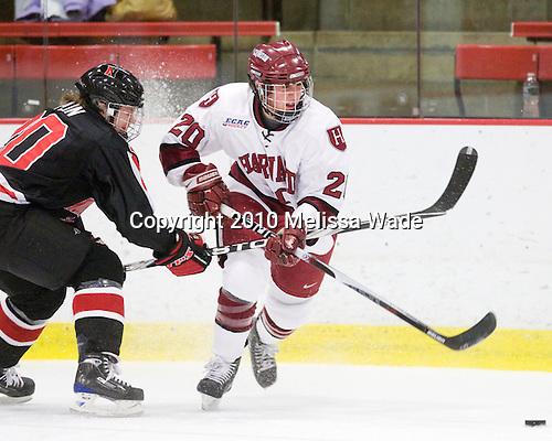 Katy Applin (NU - 20), Kate Buesser (Harvard - 20) - The Harvard University Crimson defeated the Northeastern University Huskies 1-0 to win the 2010 Beanpot on Tuesday, February 9, 2010, at the Bright Hockey Center in Cambridge, Massachusetts.