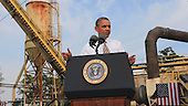 """United States President Barack Obama visits M. Luis Construction, a small business based in Rockville, Maryland to discuss the need for Congress to act to pass a """"clean"""" continuing budget resolution that does not defund """"ObamaCare"""" on Thursday, October 3, 2013.  <br /> Credit: Dennis Brack / Pool via CNP"""