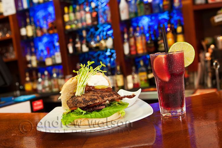 Hamburger and sangria at Vibe Bar.  Cairns, Queensland, Australia