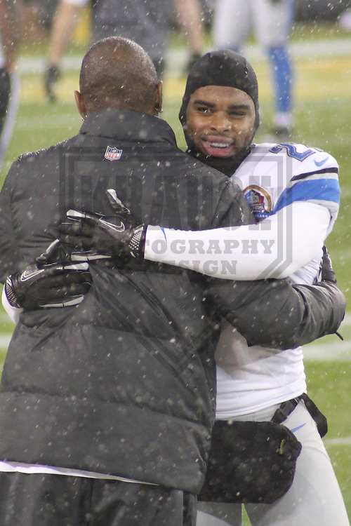GREEN BAY - December 2012: Charles Woodson (21) of the Green Bay Packers and Pat Lee (27) of the Detroit Lions prior to a game on December 9, 2012 at Lambeau Field in Green Bay, Wisconsin. Green Bay defeated Detroit 27-20. (Photo by Brad Krause).