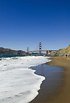 San Francisco: Baker Beach with Golden Gate Bridge in background.  Photo # 2-casanf83733.  Photo copyright Lee Foster