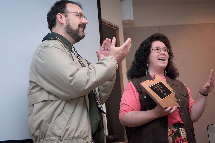 Marty Tuck, presenting a presidential teacher award on Monday morning May 19th, 2008 to Deborah Henderson in Bentley 124.