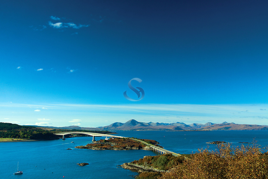 The Cuillin, Loch Alsh and the Skye Bridge from The Plock, Kyle of Lochalsh, Skye & Lochalsh, Highland