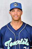 Asheville Tourists pitcher Nick Kennedy (21) during media day at McCormick Field on April 2, 2019 in Asheville, North Carolina. (Tony Farlow/Four Seam Images)