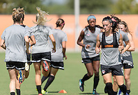 Houston, TX - Friday Oct. 07, 2016: Washington Spirit, Ali Krieger during training prior to the National Women's Soccer League (NWSL) Championship match between the Washington Spirit and the Western New York Flash at BBVA Compass Stadium.