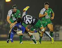 19th September 2014; <br /> Leinster's Fergus McFadden is tacked by George Naoupu of Connacht.<br /> Guinness PRO12, Connacht v Leinster . <br /> The Sportsground, Galway. <br /> Picture credit: Tommy Grealy/actionshots.ie