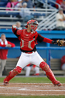 Batavia Muckdogs catcher Kevin Moscatel #24 during the second game of a doubleheader against the Mahoning Valley Scrappers at Dwyer Stadium on August 22, 2011 in Batavia, New York.  Mahoning Valley defeated Batavia 11-3.  (Mike Janes/Four Seam Images)