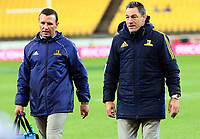 Highlanders coaches Aaron Mauger and Mark Hammett walk in before the Super Rugby match between the Hurricanes and Highlanders at Westpac Stadium in Wellington, New Zealand on Saturday, 24 March 2018. Photo: Mike Moran / lintottphoto.co.nz