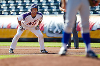Kevin Kaczmarski (4) of the Evansville Purple Aces takes a lead off first base during a game against the Indiana State Sycamores in the 2012 Missouri Valley Conference Championship Tournament at Hammons Field on May 23, 2012 in Springfield, Missouri. (David Welker/Four Seam Images)