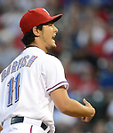 Yu Darvish (Rangers),.APRIL 30, 2013 - MLB :.Pitcher Yu Darvish of the Texas Rangers reacts during the baseball game against the Chicago White Sox at Rangers Ballpark in Arlington in Arlington, Texas, United States. (Photo by AFLO)