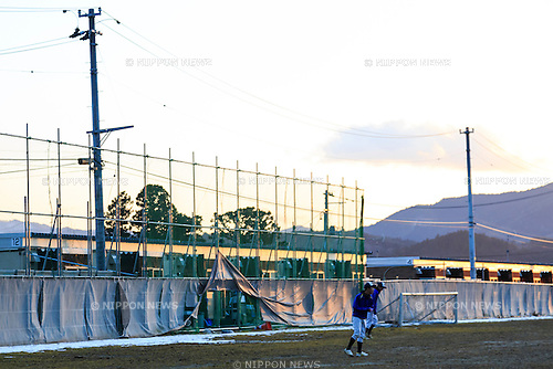 High school students play in front of a temporary prefab housing in Minamisanriku on February 10, 2016, Miyagi Prefecture, Japan. <br /> A few weeks before of the fifth anniversary of 2011 Tohoku Earthquake and Tsunami, the Japanese government announced that the second half of the reconstruction work in the Tohoku area is expected to be concluded before the 2020 Tokyo Olympics begin. <br /> According to the official Reconstruction Agency's website approximately $250 billion were allocated to the first period (2011-2015) and $65 billion more have been set aside for a ''Reconstruction and Revitalisation Period'' starting from fiscal 2016. The Agency also reported that the number of evacuees has decreased from over 470,000 to about 180,000 in the 5 years since the disaster. According to the latest Japanese National Police Agency figures (published on February 10, 2016) 15,894 people died as a result of the earthquake and tsunami and 2,562 are still listed as missing; 6,152 people were injured, and 121,803 properties collapsed. <br /> Areas devastated by the earthquake and tsunami like Minamisanriku, Kesennuma, Onagawa, and Ishinomaki are in the process of recovery but reconstruction in parts of Fukushima will take much longer due to radiation contamination. (Photo by Rodrigo Reyes Marin/AFLO)