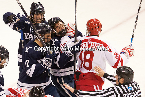 Evan Smith (Yale - 13), Frankie DiChiara (Yale - 17), John Hayden (Yale - 21), Jordan Greenway (BU - 18) The Boston University Terriers defeated the visiting Yale University Bulldogs 5-2 on Tuesday, December 13, 2016, at the Agganis Arena in Boston, Massachusetts.