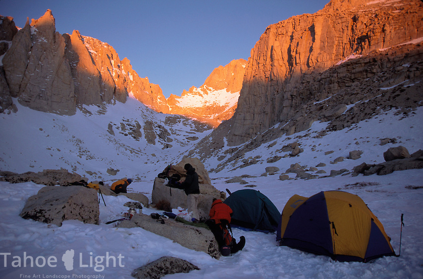 Morning breaking camp at upper boyscout lake on mt whitney.