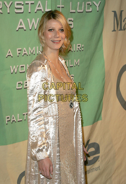 """GWYNETH PALTROW.Attend """"A Family Affair: Women in Film celebrates The Paltrow Family"""" 2004 Crystal & Lucy Awards held at The Westin Century Plaza Hotel in Century City, California.June 18, 2004.half length, half-length, necklace, silk, satin jacket, coat.www.capitalpictures.com.sales@capitalpictures.com.©Debbie VanStory/Capital Pictures.."""