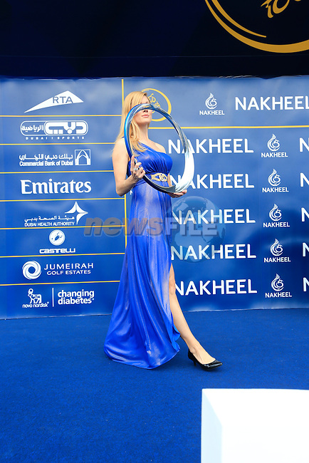 The trophy presented on stage before the start of Stage 2, the Nakheel Stage, of the 2016 Dubai Tour starting at the Dubai International Marine Club and running 188km to Palm Jumeirah Atlantis, Dubai, United Arab Emirates. 4th February 2016.<br /> Picture: Eoin Clarke | Newsfile<br /> <br /> <br /> All photos usage must carry mandatory copyright credit (&copy; Newsfile | Eoin Clarke)