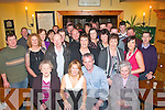 ENGAGED: Denis Holly, Tarbert, holds on tight to his new fiancee Kay Fitzgerald, Currens (seated centre) at their engagement party last Saturday night attended by both families only in Stokers Lodge, Tralee.