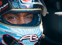 Jul 27, 2019; Sonoma, CA, USA; NHRA top fuel driver Antron Brown during qualifying for the Sonoma Nationals at Sonoma Raceway. Mandatory Credit: Mark J. Rebilas-USA TODAY Sports