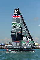 Land Rover BAR, JULY 23, 2016 - Sailing: Land Rover BAR starts to heel during day one of the Louis Vuitton America's Cup World Series racing, Portsmouth, United Kingdom. (Photo by Rob Munro/AFLO)