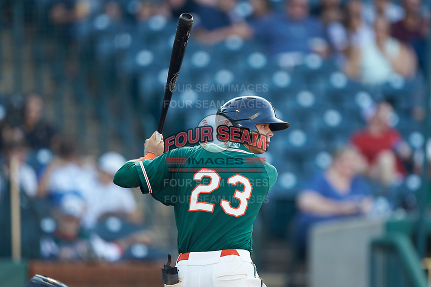 Connor Scott (23) of the Greensboro Grasshoppers at bat against the West Virginia Power at First National Bank Field on August 9, 2018 in Greensboro, North Carolina. The Power defeated the Grasshoppers 5-3 in game one of a double-header. (Brian Westerholt/Four Seam Images)