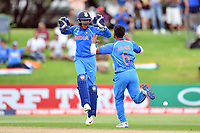 India's Anukul Roy and wicket keeper Harvik Desai celebrate the wicket of Australia's Param Uppal during the ICC U-19 Cricket World Cup 2018 Finals between India v Australia, Bay Oval, Tauranga, Saturday 03rd February 2018. Copyright Photo: Raghavan Venugopal / © www.Photosport.nz 2018 © SWpix.com (t/a Photography Hub Ltd)