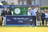 Brandon Wu (USA) on the 1st tee during Day 2 Foursomes at the Walker Cup, Royal Liverpool Golf CLub, Hoylake, Cheshire, England. 08/09/2019.<br /> Picture Thos Caffrey / Golffile.ie<br /> <br /> All photo usage must carry mandatory copyright credit (© Golffile | Thos Caffrey)