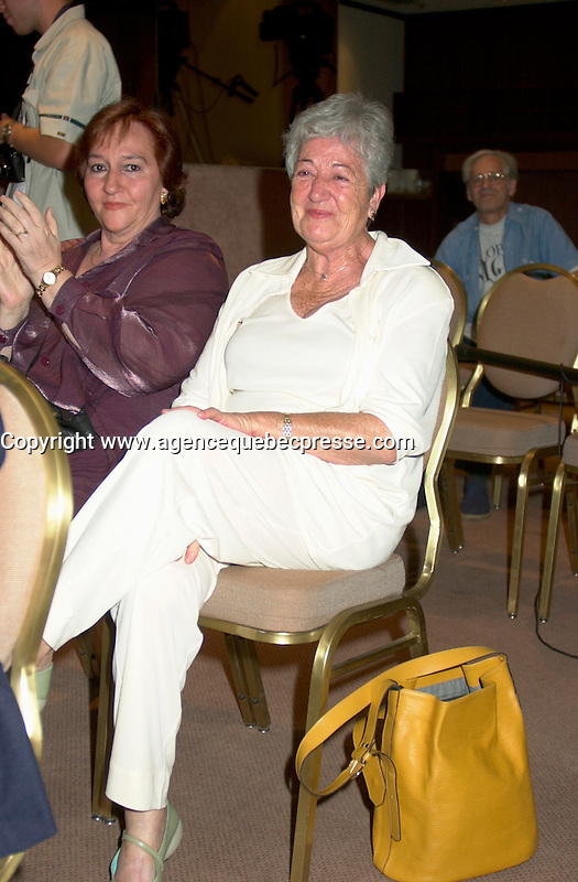 Aug 25th File Photo of (PLEASEC DOUBLE CHECK TO MAKE SUREIT IS RABAL,S WIFE)<br /> Spanish actor FRANCISCO RABAL's  wife ; Asuncion Balaguer smile for a  photo  before Rabal receives  a Special Grand Prize of the Americas from  the World Film Festival'sViice President Dani&Euml;le Cauchard, August 25th, 20001 in Montreal , Canada.<br /> , Rabal just died on the plane back home<br /> <br /> <br /> <br /> Rabal remained very active through the 1980s and 1990s, appearing in films by Pedro Alm&Ucirc;dvar, Saura, Eliseo Subiela and Arturo Ripstein. In 1999 he played the title role in Saura's GOYA IN BORDEAUX shown at the 1999 Montreal Festival, a performance which won international critical acclaim.<br /> Rabal's cinematic heritage continues in the persons of his actress-daughter Teresa Rabal, director-son Benito Rabal and actor-grandson Liberto Rabal.<br /> <br /> Photo by Pierre Roussel / Getty Images News Service (ON SPEC)<br /> <br /> <br /> NOTE : Nikon D-1 JPEG opened with QUIMAGE ICC profile , saved as Adobe RG 1998 color space.