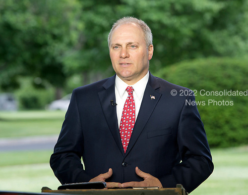 United States House Majority Whip Steve Scalise (Republican of Louisiana) is interviewed at the White House in Washington, DC following the passage of the American Health Care Act (AHCA) on May 4, 2017.<br /> Credit: Ron Sachs / CNP