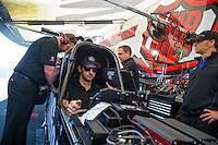 Jun 7, 2015; Englishtown, NJ, USA; NHRA top fuel driver Morgan Lucas warms up in the pits during the Summernationals at Old Bridge Township Raceway Park. Mandatory Credit: Mark J. Rebilas-