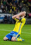 Solna 2015-11-14 Fotboll EM-kval , Sverige - Danmark :  <br /> Sveriges Zlatan Ibrahimovic tar sig f&ouml;r huvudet under matchen mellan Sverige och Danmark <br /> (Photo: Kenta J&ouml;nsson) Keywords:  Sweden Sverige Solna Stockholm Friends Arena EM Kval EM-kval UEFA Euro European 2016 Qualifying Qualifier Playoff Denmark Danmark depp besviken besvikelse sorg ledsen deppig nedst&auml;md uppgiven sad disappointment disappointed dejected
