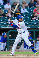 Iowa Cubs catcher Ali Solis (4) during game two of a Pacific Coast League doubleheader against the Colorado Springs Sky Sox on August 17, 2017 at Principal Park in Des Moines, Iowa. Iowa defeated Colorado Springs 6-0. (Brad Krause/Krause Sports Photography)