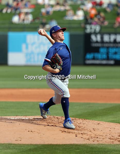 Kolby Allard - Texas Rangers 2020 spring training (Bill Mitchell)