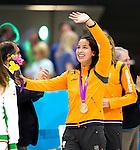 Engeland, London, 3 Augustus 2012.Olympische Spelen London.Ranomi Kromowidjojo pakte Zaterdagavond in het volgepakte Aquatic Centre de gouden Medaille op de 50 meter vrije slag.