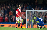 Joe Worrall of Nottingham Forest approaches a tired looking Kenedy of Chelsea at the final whistle during the Carabao Cup (Football League cup) 23rd round match between Chelsea and Nottingham Forest at Stamford Bridge, London, England on 20 September 2017. Photo by Andy Rowland.