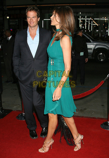 "RANDE GERBER & CINDY CRAWFORD .""Leatherheads"" World Premiere held at Grauman's Chinese Theatre, Hollywood, California, USA,.31 March 2008..full length  green dress husband wife couple belt belted gold strappy sandals shoes.CAP/ADM/RE.©Russ Elliot/Admedia/Capital PIctures"