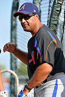 Aberdeen Ironbirds coach Leo Gomez (10) during game against the Brooklyn Cyclones at MCU Park in Brooklyn, NY June 21, 2010. Cyclones won 5-2.  Photo By Tomasso DeRosa/Four Seam Images