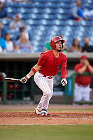 Clearwater Threshers designated hitter Herlis Rodriguez (27) follows through on a swing during a game against the Palm Beach Cardinals on April 14, 2017 at Spectrum Field in Clearwater, Florida.  Clearwater defeated Palm Beach 6-2.  (Mike Janes/Four Seam Images)