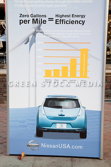 Electric Car Nissan Leaf Zero Emission Tour Green Stock Media