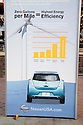 Poster promoting Nissan Leaf Zero Emission Tour promotional event for the Nissan Leaf electric car that is scheduled to be released in Fall 2010. Car specs from Nissan: 5 person capacity, 90 MPH top speed, lithium-ion battery, 100 mile average range per charge. Santana Row, San Jose, California, USA, 12/5/09