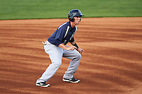 Pensacola Blue Wahoos second baseman Zach Vincej (3) leads off second during a game against the Mississippi Braves on May 28, 2015 at Trustmark Park in Pearl, Mississippi.  Mississippi  defeated Pensacola 4-2.  (Mike Janes/Four Seam Images)