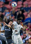 Real Salt Lake midfielder Damir Kreilach (6) and Colorado Rapids forward Dominique Badji (14) vie for the ball in the second half Saturday, April 21, 2018, during the Major League Soccer game at Rio Tiinto Stadium in Sandy, Utah. RSL beat the Colorado Rapids 3-0. (© 2018 Douglas C. Pizac)