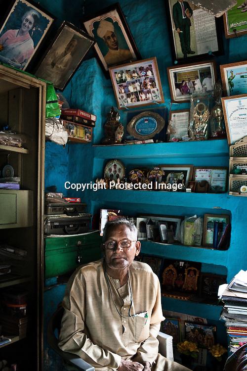 Leader of the Devanga community, 63 year old Veeru Raju, seen in his house in Mahesh, Hooghly in West Bengal, India.  Photo: Sanjit Das/Panos for The Wall Street Journal. Slug: ICASTE