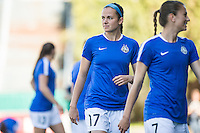 Seattle, WA - Sunday, May 1, 2016: FC Kansas City defender Amanda Frisbie (17) looks on prior to a National Women's Soccer League (NWSL) match at Memorial Stadium.